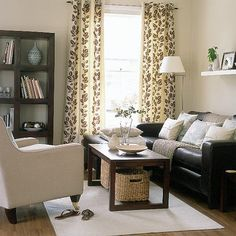 dark brown couch living room décor\