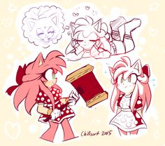 """chillisart: """"i challenged myself to redesign an amy that i actually liked and here she is. strong and sassy and too busy thinking about her kitty gf to worry about sonic :3c """" Adorable Amy"""