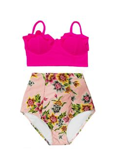 Pink Midkini Top and Pink Gold Flora High Waist Waisted Retro