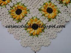 Após vários pedidos, enfim consegui produzir um Jogo de Banheiro em Crochê com Flores de Girassol... Espero que gostem...                  ...