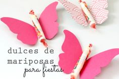 Dulces para fiestas: Mariposas | Blog de BabyCenter Butterfly Party, Butterfly Birthday, Butterfly Crafts, Candy Train, 2 Year Old Birthday Party, Class Decoration, Candy Party, Valentine Day Crafts, First Birthdays