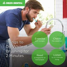 Don't just stand there while you brush twice a day! Here are a few things to do while brushing for two minutes. Healthy Teeth, Brushing, Lunges, Dental, Things To Do, Exercise, Smile, Reading, Day