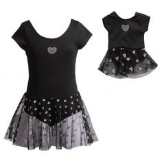 Classic Black Hearts Dance Set with Matching Outfit for 18 inch Play Doll.Keep it simple and sweet in this black and white heart-print set.