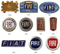 Evolution of car manufacturers logos Fiat Cinquecento, Fiat Abarth, Fiat 850, Car Badges, Car Logos, Auto Logos, Mopar, Car Hood Ornaments, Examples Of Logos