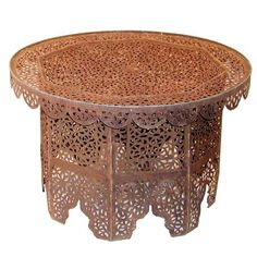 moroccan furniture design. moroccan iron lace coffee table lacey cutout in an authentic rust finish and scalloped skirt adds a feminine touch to rustic decor or outside covered furniture design