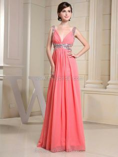 A-line Straps Chiffon Floor-length Sequins Evening Dresses