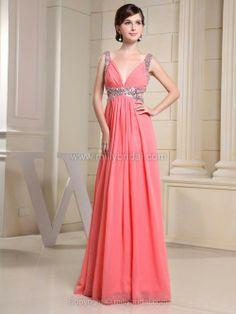 A-line Straps Chiffon Floor-length Sequins Evening Dresses