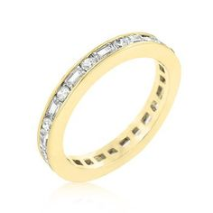 18k Gold Plated Eternity Band with Alternating Baguette and Round Cut Cubic Zirconia Channel Set Polished into a Lustrous Goldtone Finish
