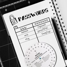 Decoder Wheel Password Scrambler Cipher Escape Room Secret Message - Bullet Journal - Use this Password Scrambler so you can write your passwords in your planner! January Bullet Journal, Bullet Journal Cover Page, Bullet Journal Notebook, Bullet Journal Spread, Bullet Journal Inspiration, Journal Ideas, Bullet Journal Period Tracker, Escape Room, Weekly Log