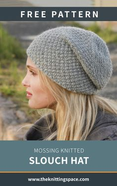 Mossing Knitted Slouch Hat [FREE Knitting Pattern] : Create this chic knitted b. Mossing Knitted Slouch Hat [FREE Knitting Pattern] : Create this chic knitted beanie in time for t Beanie Knitting Patterns Free, Beanie Pattern Free, Free Knitting, Knit Headband Pattern, Beginner Knitting Projects, Knitting Blogs, Purl Bee, Drops Design, Lana
