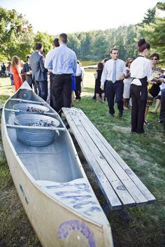 Camp Wedding Ideas - a canoe for ice buckets!