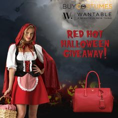 Wantable Giveaway: Prada Handbag & Sexy Little Red Riding Hood Costume Just in Time for Halloween! Red Prada Bag, Buy Costumes, Hallowen Costume, Red Riding Hood Costume, Costume Contest, Costume Ideas, Look Here, Red Handbag, Red Bags
