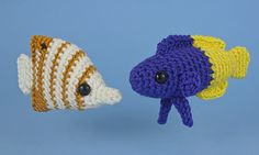 Aquaami Tropical Fish crochet patterns by PlanetJune. Set 3: Copperband Butterflyfish and Royal Gramma