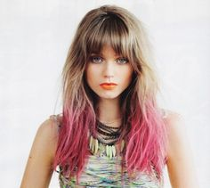 Shatush, ombré hair, dip dye hair: hairstyle trends of 2013 Summer Hairstyles, Pretty Hairstyles, Messy Hairstyle, Pink Hairstyles, Romantic Hairstyles, Celebrity Hairstyles, Wedding Hairstyles, Pink Dip Dye, Dip Dyed