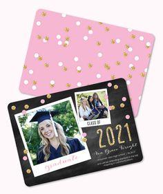Grad Confetti Snapshots Pink Photo Card Graduation Announcement and Invitation by Tumbalina #Polaroid #gold #glitter