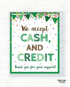 We Accept Cash Credit and Debit Cards Sign, Cookie Booth Printable Scout Cookie Sign Scout Cookie Printable Cookie Booth Sign, Bake Sale Bake Sale Sign, For Sale Sign, Gs Cookies, Custom Cookies, Price Signs, Girl Scout Cookies, How To Attract Customers, Girl Scouts, Scout Mom