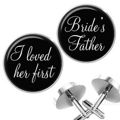 Dad will love these! Personalized Wedding Cufflinks Bride's Father by BelugaHomeStudio
