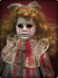 Creepy weird Tears of Blood Blonde Hair doll light blue Halloween horror prop