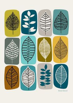 Leaf Blocks Green is a print I designed for use on stationery, but I felt it deserved a place on the wall too. The idea for this piece was to mix some of my leaf drawings with bold blocks of colour. Colours used in this piece include olive green, turquoise, yellow, teal and black on an off-white