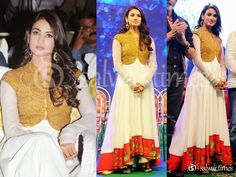 Actress Sonal Chauhan wearing Shilpa Reddy Anarkali and gold Jacket