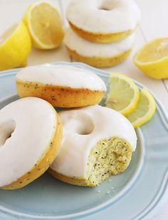 Lemon Poppy Seed Donuts with Vanilla Glaze