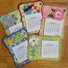 Adorable calendar fridge magnets - idea: calendars with the year's meetings on them to keep on the fridge with a sticky pad on te top Craft Gifts, Diy Gifts, Craft Show Ideas, Craft Sale, Paper Gifts, Craft Fairs, Scrapbook Cards, Stampin Up Cards, Crafts To Make