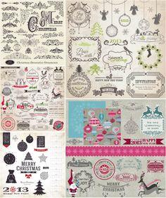 Decorative Christmas embellishments vector