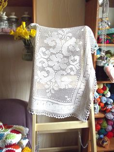Crochet tablecloth.