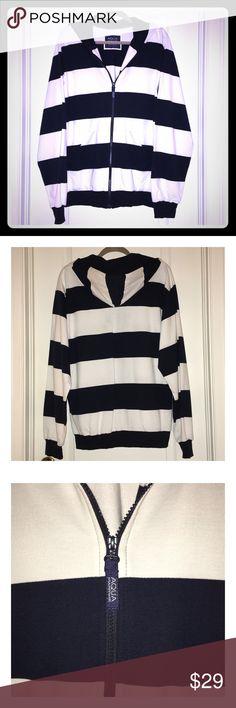New MENS XL Navy & White Hoodie Full Length Zipper 100% Cotton AQUA Maritime Jackets & Coats Lightweight & Shirt Jackets