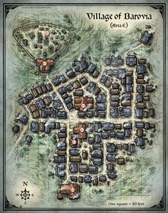 D&D Village of Barovia Map Mike Schley town city map cartography | Create your own roleplaying game material w/ RPG Bard: www.rpgbard.com | Writing inspiration for Dungeons and Dragons DND D&D Pathfinder PFRPG Warhammer 40k Star Wars Shadowrun Call of Cthulhu Lord of the Rings LoTR + d20 fantasy science fiction scifi horror design | Not Trusty Sword art: click artwork for source