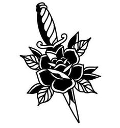 Template traditional pink with dagger - Traditional pin pink with dagger - Flash Art Tattoos, Body Art Tattoos, Sleeve Tattoos, Traditional Tattoo Flowers, Traditional Tattoo Flash, Traditional Tattoo Stencils, Traditional Tattoo Sketches, Traditional Dagger Tattoo, Traditional Tattoo Old School
