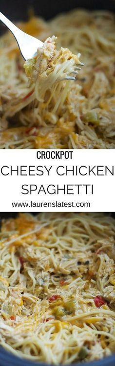 Crockpot Cheesy Chicken Spaghetti....the easiest crockpot dinner ever! Cook the chicken in the sauce and then toss with pasta!
