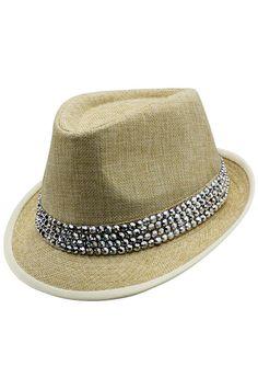 71245c5531141 Fedora Trilby Hat With Rhinestone Hatband