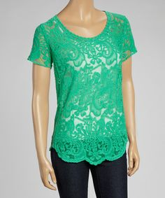 Another great find on #zulily! Green Sheer Lace Scoop Neck Top by Banana U.S.A. #zulilyfinds