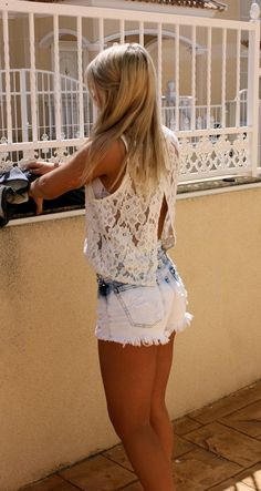 Not a huge fan of the shorts, especially matched with the top. But I can't resist the open backed lace