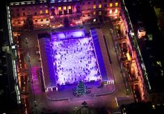 Festive season: In the run up to Christmas, Somerset House bathed the ice rink in glittering pink lights as Londoners whizzed around the whi...