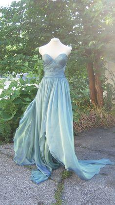 SAMPLE SALE Green Blue Iridescent Silk Chiffon by ColleenMcGuirk, $720.00