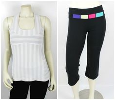 Lululemon 2 Piece Grey Stripe Tank & Black Capri Athletic Yoga Pants Set Size 6 #Lululemon #TankPantsSet