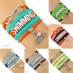 (10 Pieces/Lot) Infinity Love Swimming Bracelet Swimmer Cheer Swim Bracelet Custom Any Themes Bracelet Drop Shipping