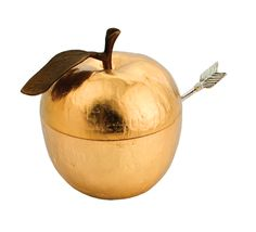 golden apple honey pot with silver arrow spoon