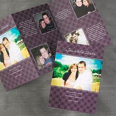 Through the Years - Save the Date Card...This bright white tri-fold card features five photos of the couple to help tell the engagement story.