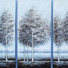 Gefii - 100% Hand-painted Abstract Painting Silver Pine Tree Wall Decor Landscape Paintings on Canvas 16x32 Inch x 3pcs/set Stretched Framed Ready to Hang gefii http://www.amazon.com/dp/B00Q329AFU/ref=cm_sw_r_pi_dp_wQLEvb19YTE7J