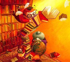 In library / En la biblioteca (ilustración de Anja Klauss)