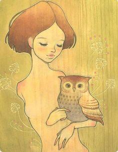 Tickle My Owl - Close Oil on wood 2005 (jg) © Audrey Kawasaki 2004 - 2013