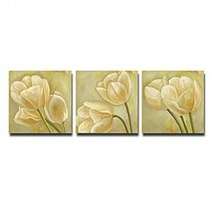 Hand-painted Floral Oil Painting with Stretched Frame - Set of 3 - OutletsArt.com
