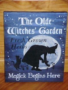 Olde Witches Garden Sign- How cute for my herb garden at Halloween?!?