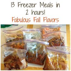 13 Freezer Meals in 2 hours. Fall flavors like pumpkin, butternut squash and sweet potato!