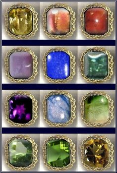 """'...the first row shall be a sardius, a topaz, and a carbuncle: ...the second row shall be an emerald, a sapphire, and a diamond... the third row a ligure, an agate, and an amethyst... fourth row a beryl, and an onyx, and a jasper:..set in gold..the stones shall be with the names of the children of Israel, twelve, ...according to the twelve tribes."""" (click picture to read article - birthstones/Mazzaroth/astrology)"""
