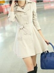 Women' Office Lapel Long Sleeve   Trench-coat