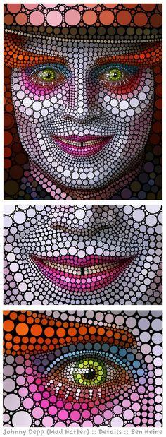 Circle Art by Ben Heine - Johnny Depp Dot Art Painting, Mandala Painting, Painting & Drawing, Johnny Depp Mad Hatter, Ben Heine, Circle Art, Mandala Dots, Arte Pop, Mosaic Art